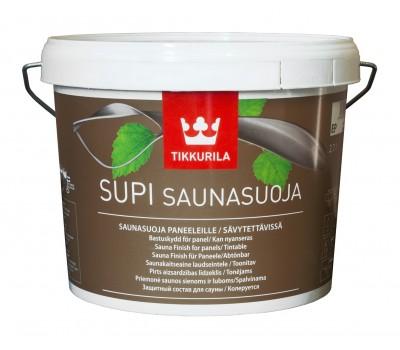 Предлагаем пропитать стены внутри бани применяя Супи Саунасоя 2,7 литра.