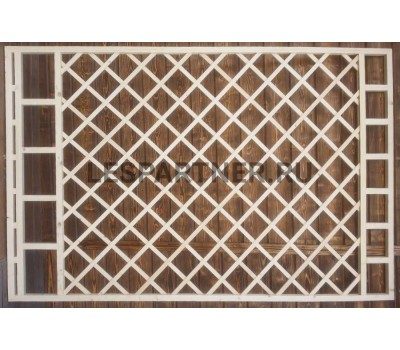 Решетка из сосны внахлест «диагональ» ломанная №1 100х100 мм
