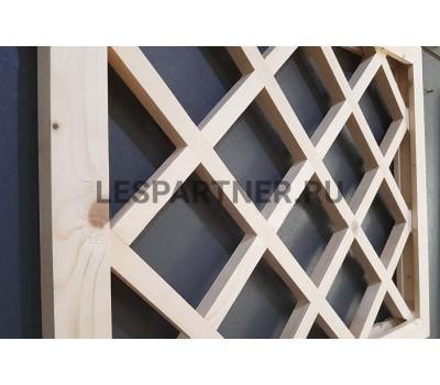 Решетка из сосны врезанная «прямая» прямоугольная 100х100 мм