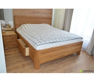 Двуспальная кровать из дуба с ящиками в стиле Лофт
