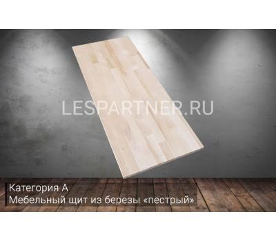 Мебельный щит из березы категория А «пестрый» 18x300x3000мм